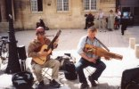 Nyckelharpa player busking in Aix-en-Provence