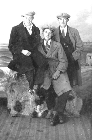 Bill, centre, brother Jack, right, friend J Tolly left.  Blackpool, c.1929.