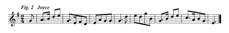 Staff notation of the tune published by P W Joyce.