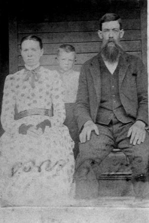 Eliza and Gabriel Coates, possibly with their first son, John Coates, c.1900.
