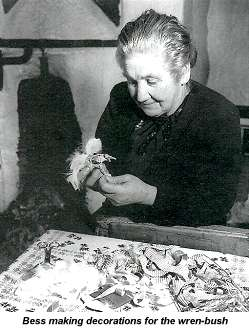 Photo of Bess making decorations for the wren-bush