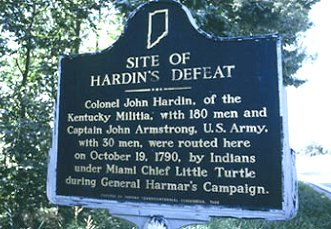 Sign at the site of the battle of Heller's Corner ('Hardin's Defeat') in Indiana. Photo from the local tourist board.