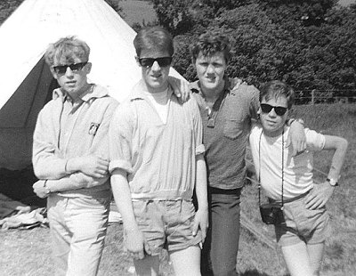 Harry (2nd from left) with friends from the Angle Street Bugle Band at camp in the early 1960s.