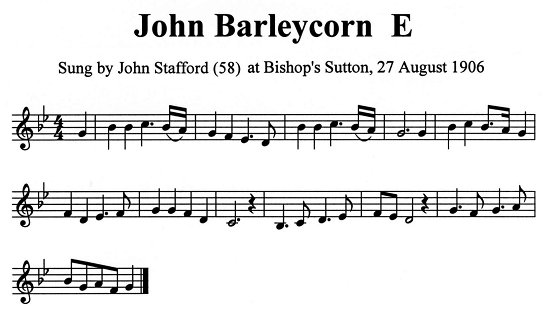 Staff notation of John Stafford's tune