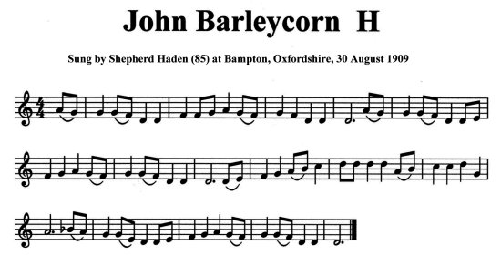 Staff notation of Shepherd Haden's tune