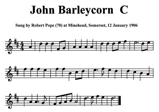 Staff notation of Robert Pope's tune