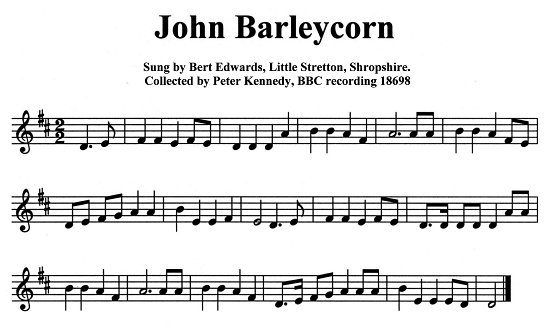 Staff notation of Bert Edward's tune