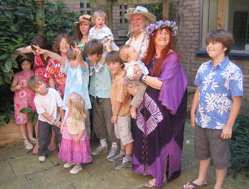 Ken and  Jill, and some of the grandchildren at their wedding in 2006