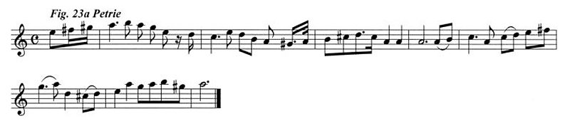 Staff notation of the Petrie tune.