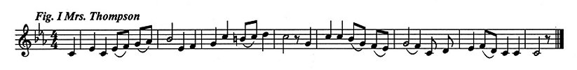 Staff notation of Mrs Thompson's tune.