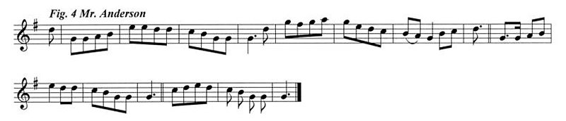 Staff notation of Mr Anderson's tune.