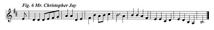 Staff notation of Mr Jay's tune.