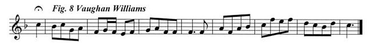 Staff notation of the Vaughan Williams tune.