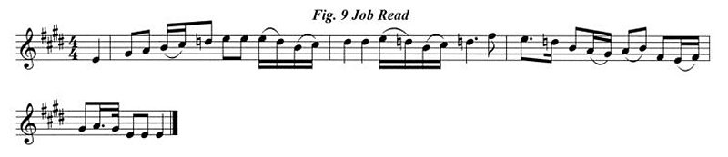Staff notation of Job Read's tune.