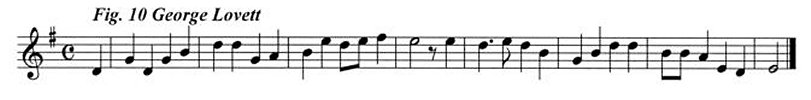 Staff notation of George Lovett's tune.