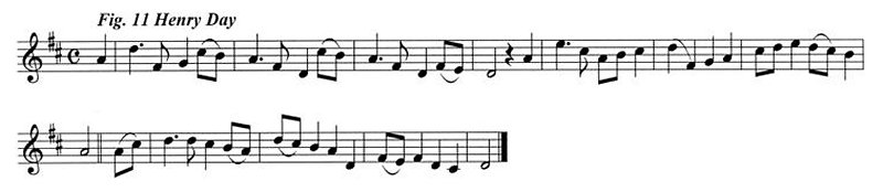 Staff notation of Henry Day's tune.