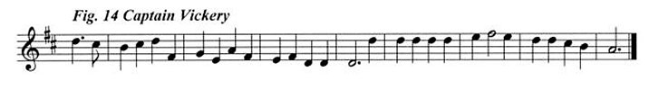 Staff notation of Captain Vickery's tune.