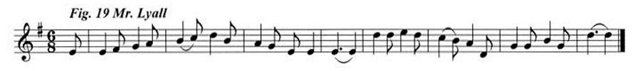 Staff notation of Mr Lyall's tune.