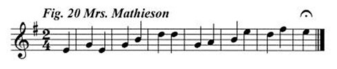Staff notation of Mrs Mathieson's tune.