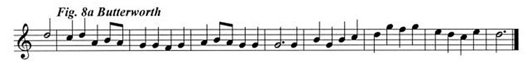 Staff notation of the Butterworth tune.
