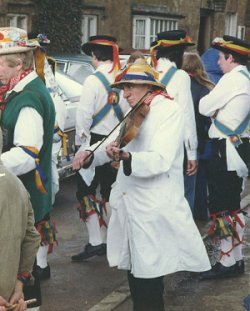 1 April 1978, Henry William 'Fiddler' Sturch playing for the Ilmington Morris Men